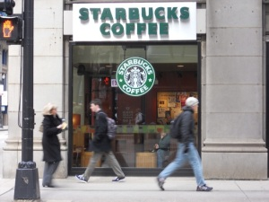 I was once enjoyed my coffee in a Starbucks people watching in the  Starbucks across the street.